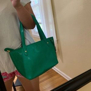 Ralph Lauren green leather handbag/tote